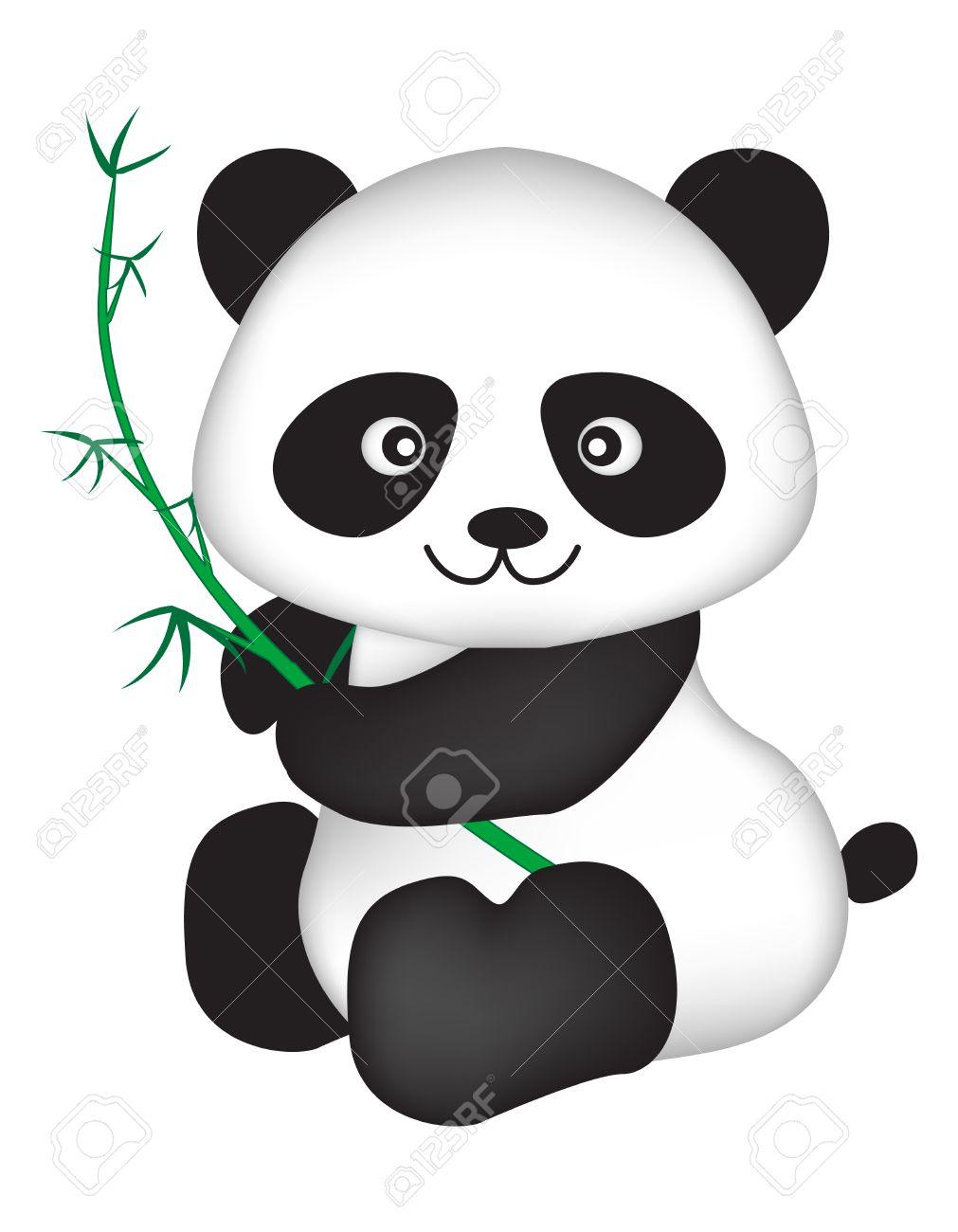 Mignon Ours Panda Chinois Illustration En Noir Et Blanc Isolé Sur Fond Blanc