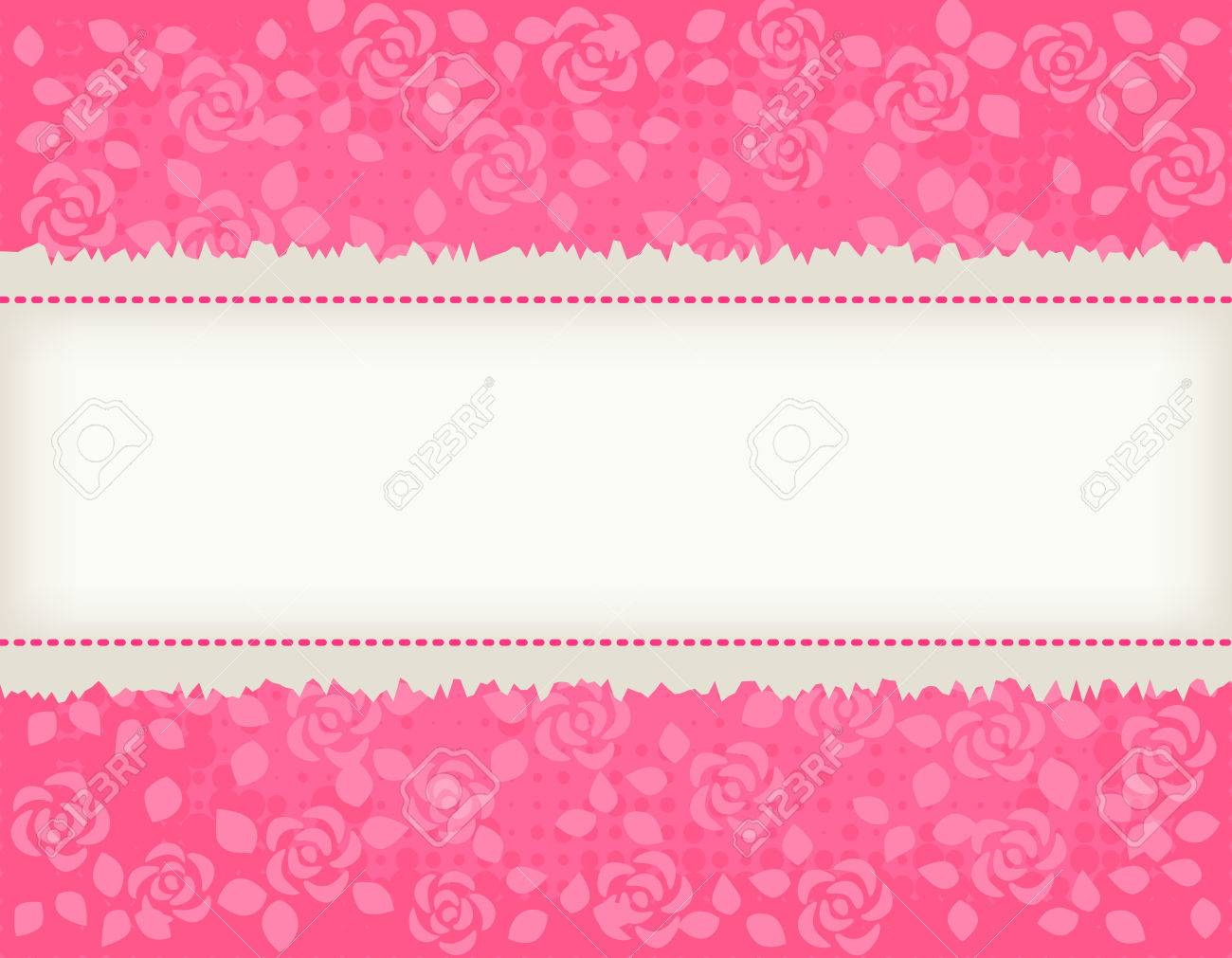 Pretty Pink Roses Texrured Background Wth Light Brown Frame ...
