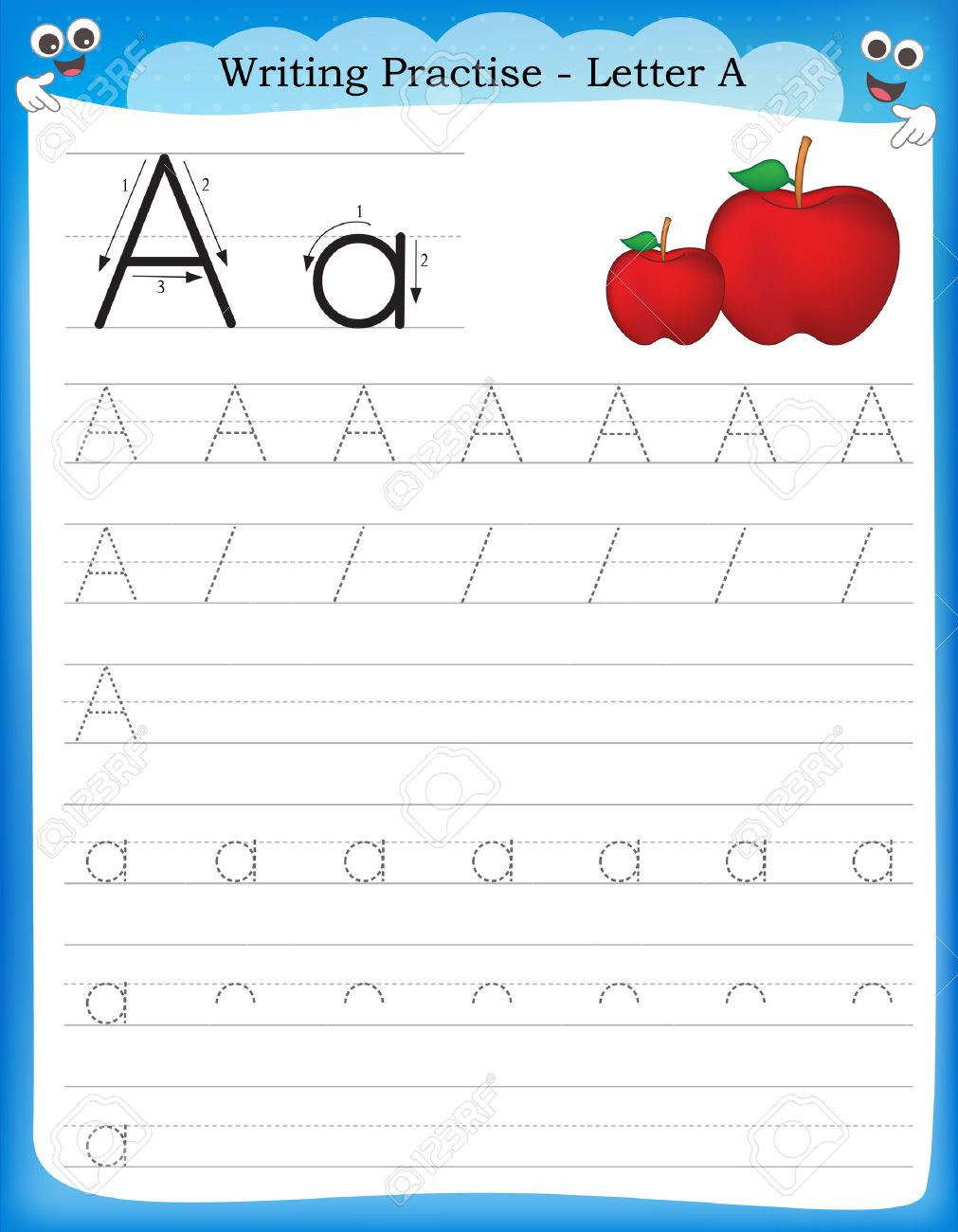 Writing Practice Letter A Printable Worksheet For Preschool ...