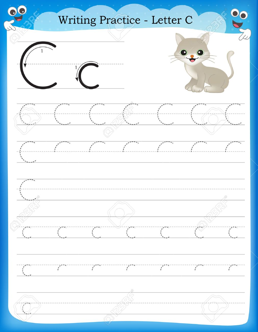 Worksheet Preschool Writing Practice writing practice letter c printable worksheet for preschool vector kindergarten kids to improve basic skills