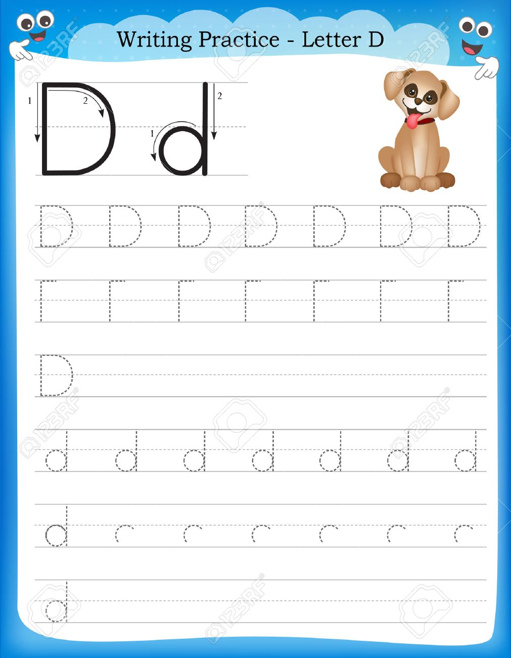 Práctica De Escritura La Letra D Hoja De Trabajo Infantil Para Pintar Preescolar Guardería Para Mejorar Las Habilidades Básicas De Escritura