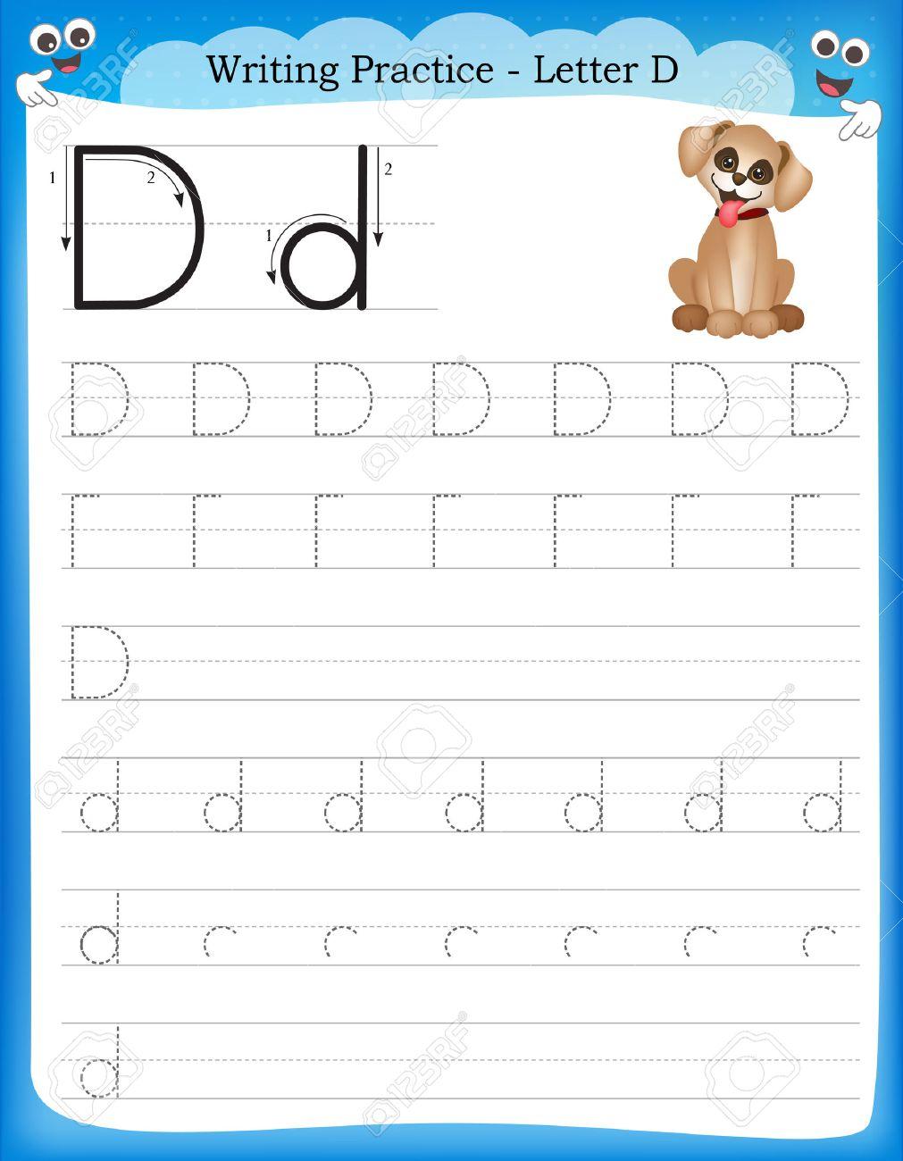 Schreiben Praxis Buchstaben D Druckbare Arbeitsblatt Für Vorschule ...
