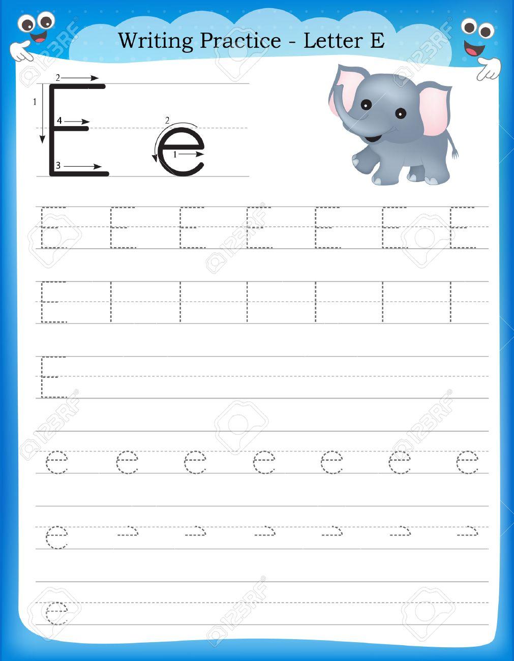 Writing Practice Letter E Printable Worksheet For Preschool ...