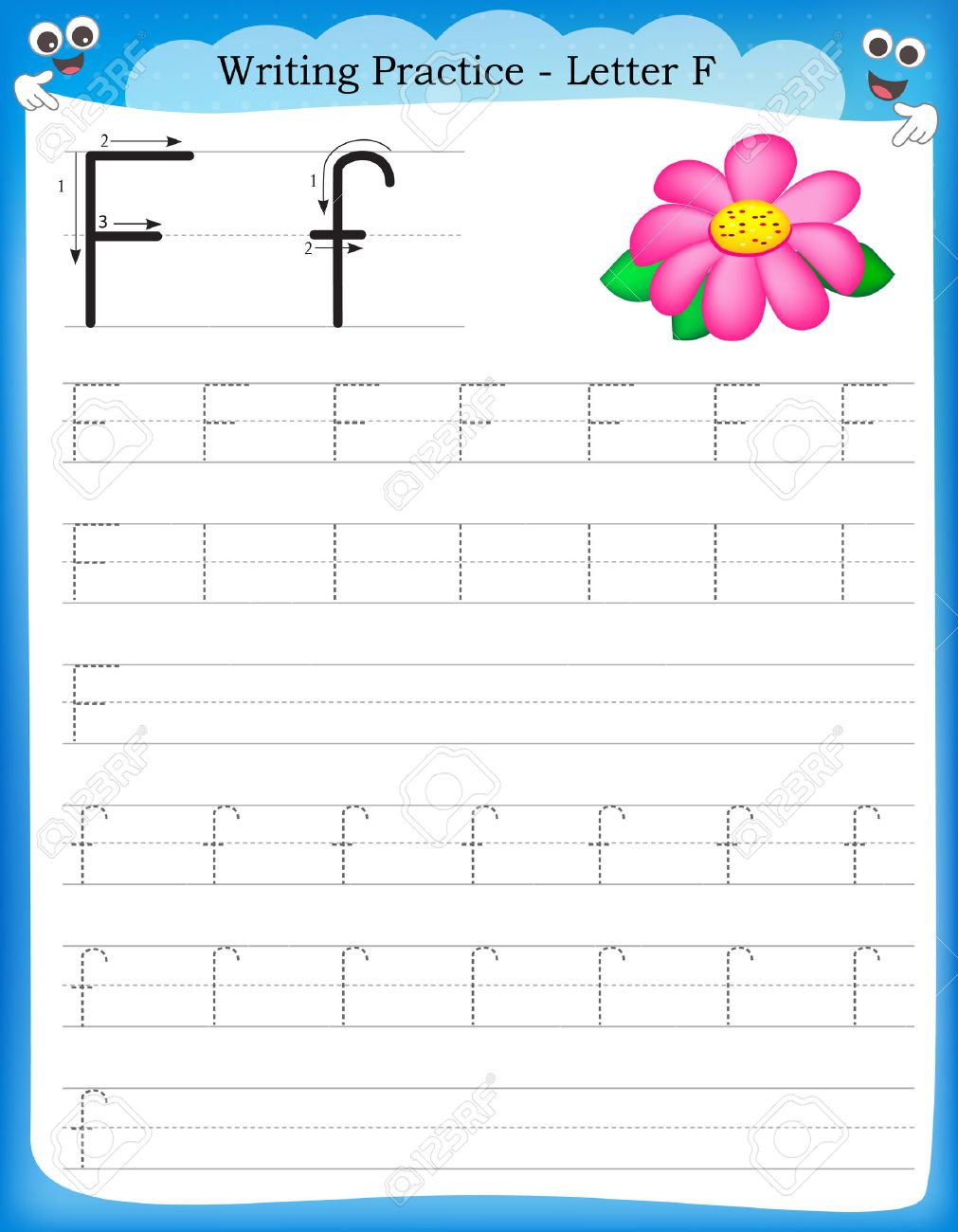 writing practice letter f printable worksheet for preschool