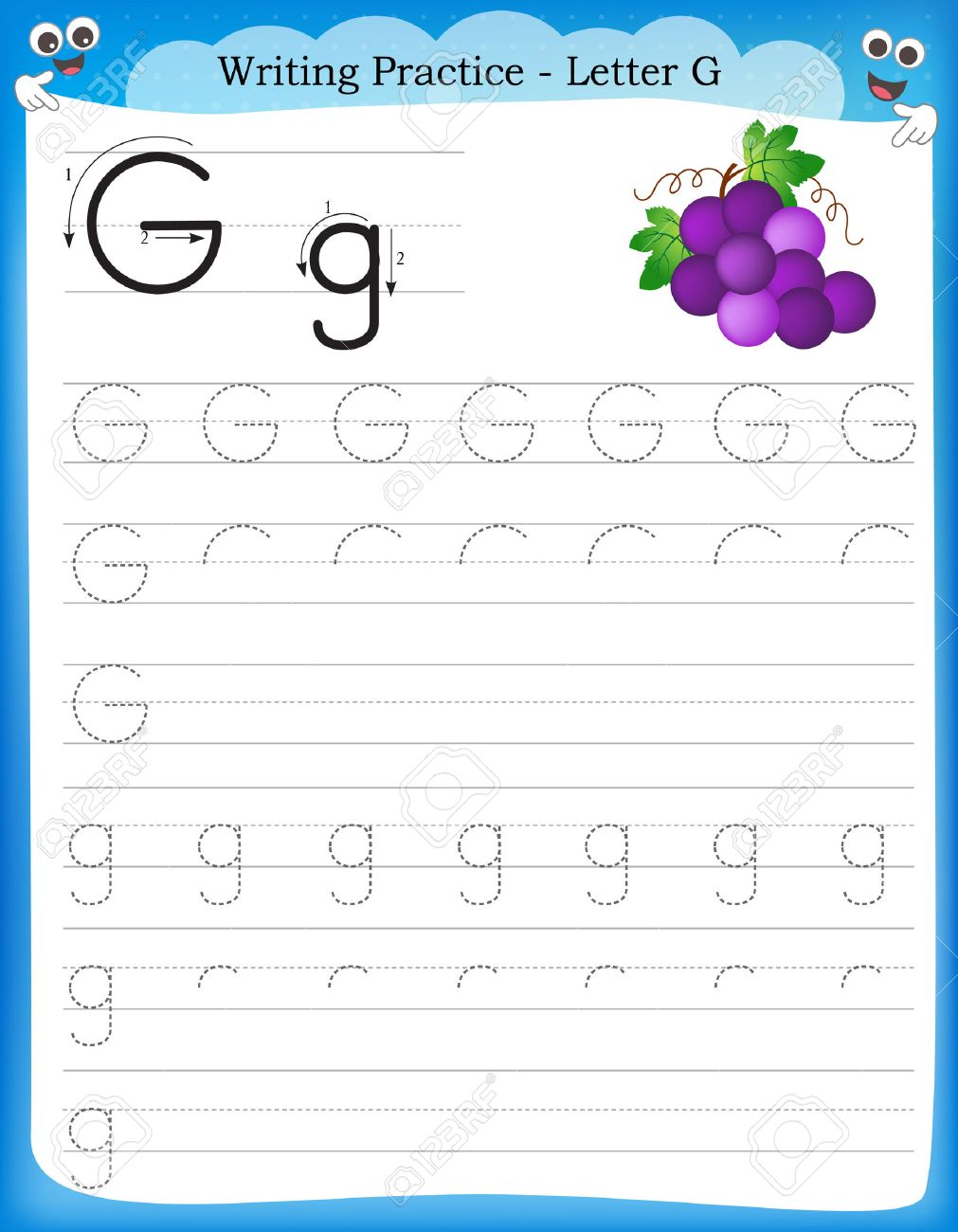 Workbooks letter g worksheets for preschool : Writing Practice Letter G Printable Worksheet For Preschool ...