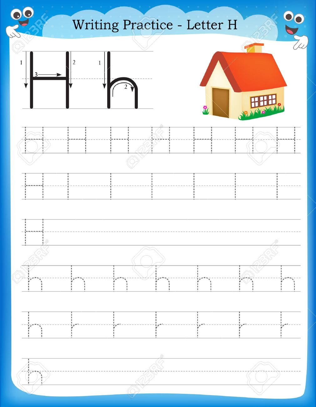 writing practice letter h printable worksheet for preschool