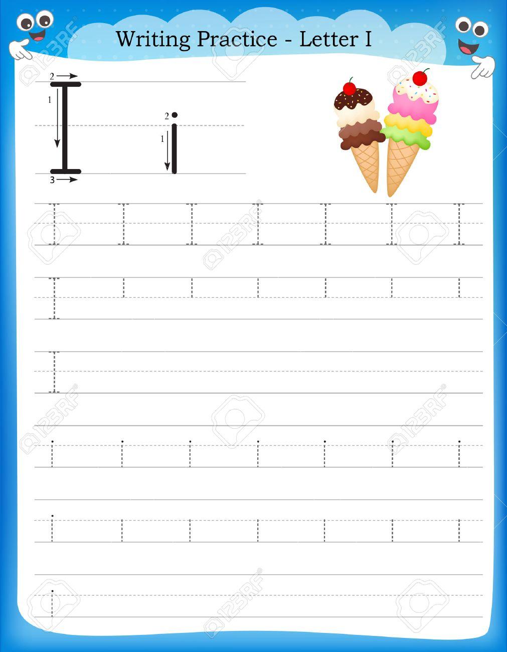Writing Practice Letter I Printable Worksheet For Preschool ...