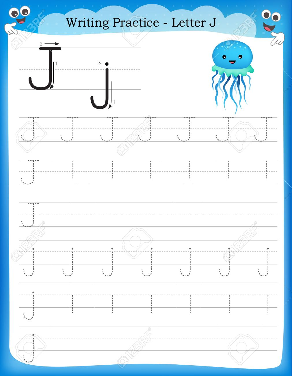 writing practice letter j printable worksheet for preschool