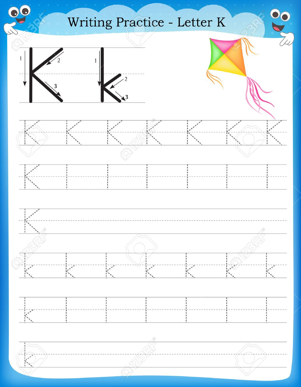 photo regarding Letter K Printable identify Composing teach letter K printable worksheet with clip artwork..