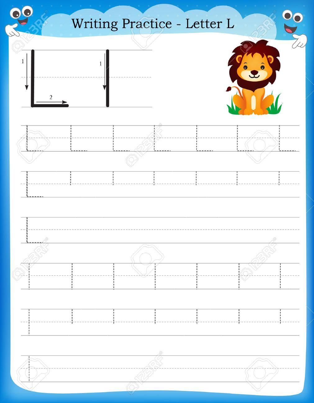 math worksheet : writing practice letter l printable worksheet with clip art for  : Letter L Worksheets Kindergarten