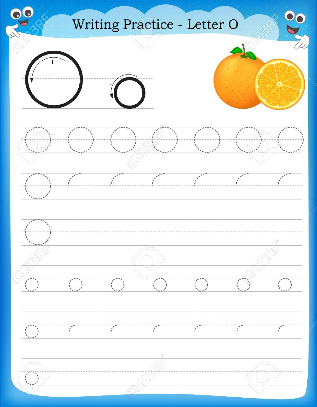 worksheet Letter O Worksheet writing practice letter o printable worksheet with clip art vector for preschool kindergarten kids to improve basic skills