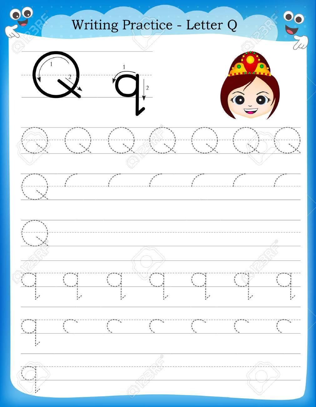 Estremamente Esercizi Di Scrittura Lettera Q Foglio Stampabile Con Clip Art Per  NA57