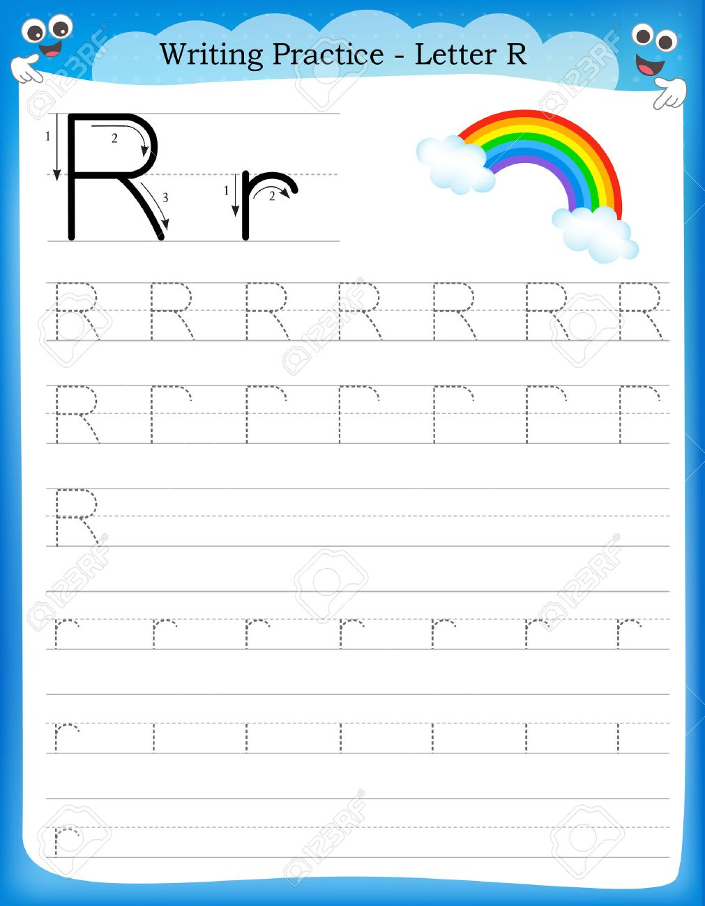 Writing Practice Letter R Printable Worksheet With Clip Art ...