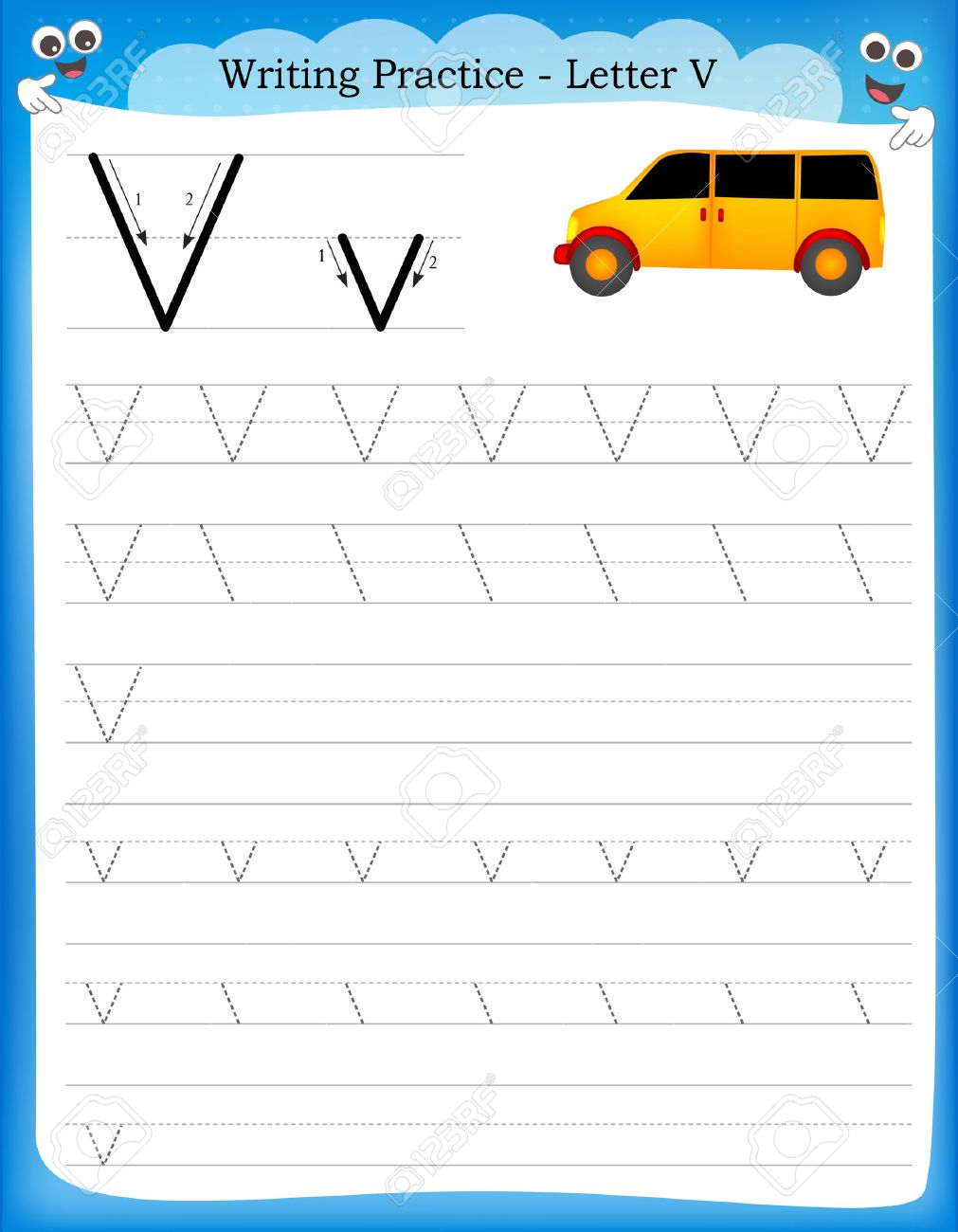 Writing Practice Letter V Printable Worksheet With Clip Art ...