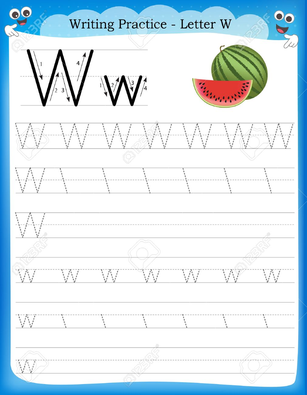 Writing Practice Letter W Printable Worksheet With Clip Art – Letter W Worksheets for Preschool