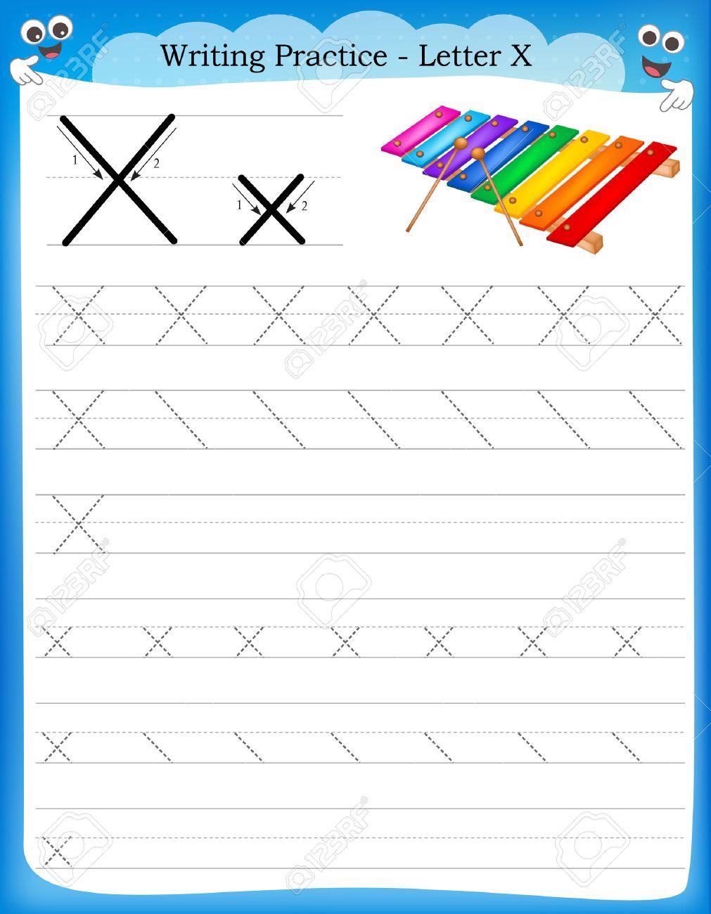 Schreiben Praxis Buchstaben X Druckbare Arbeitsblatt Mit Clip Art