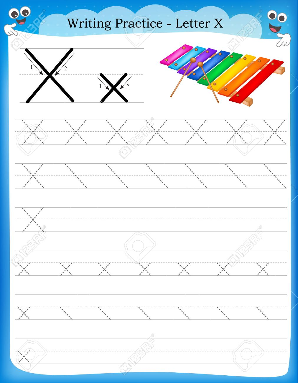Vector   Writing Practice Letter X Printable Worksheet With Clip Art For  Preschool / Kindergarten Kids To Improve Basic Writing Skills