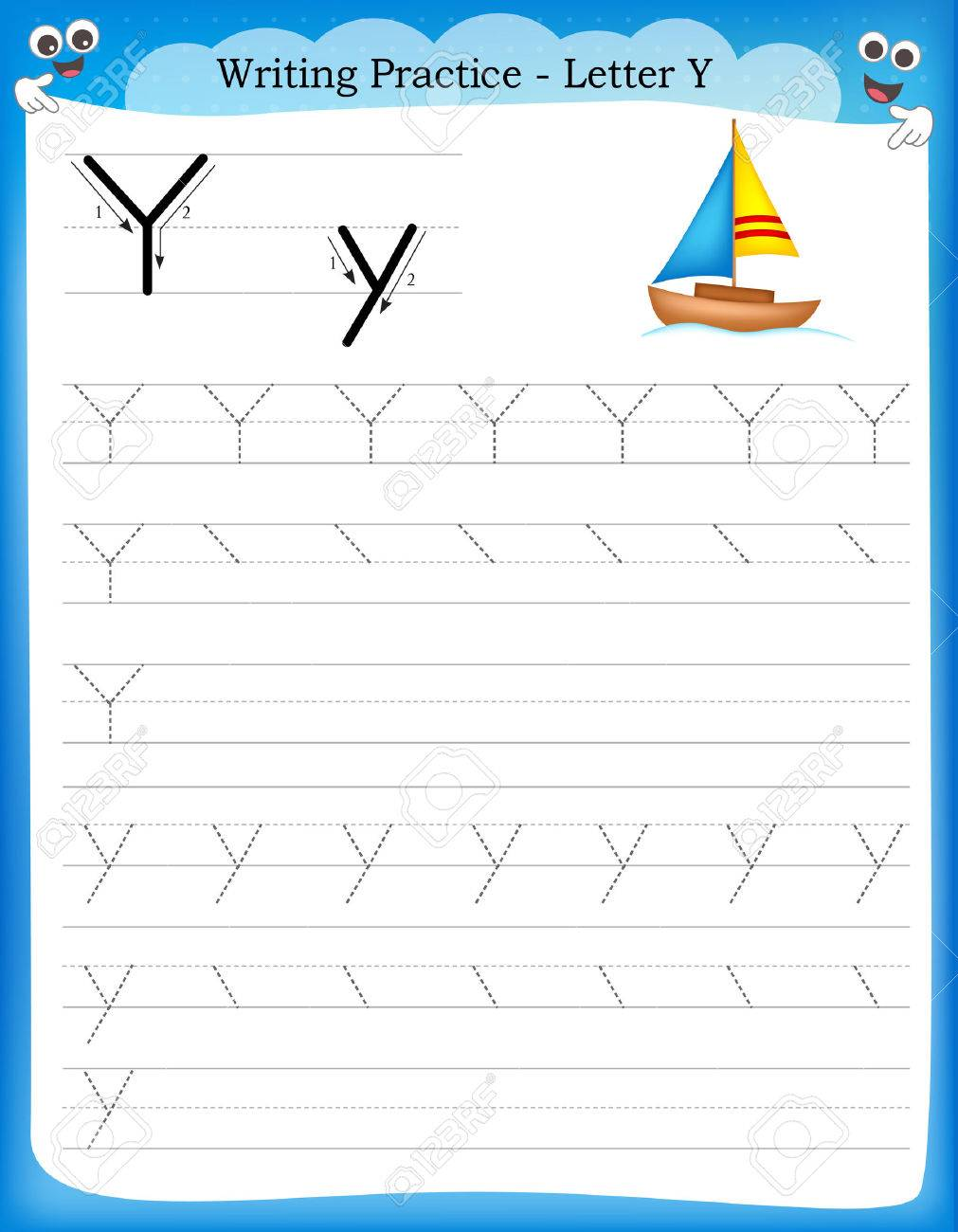 writing practice letter y printable worksheet with clip art