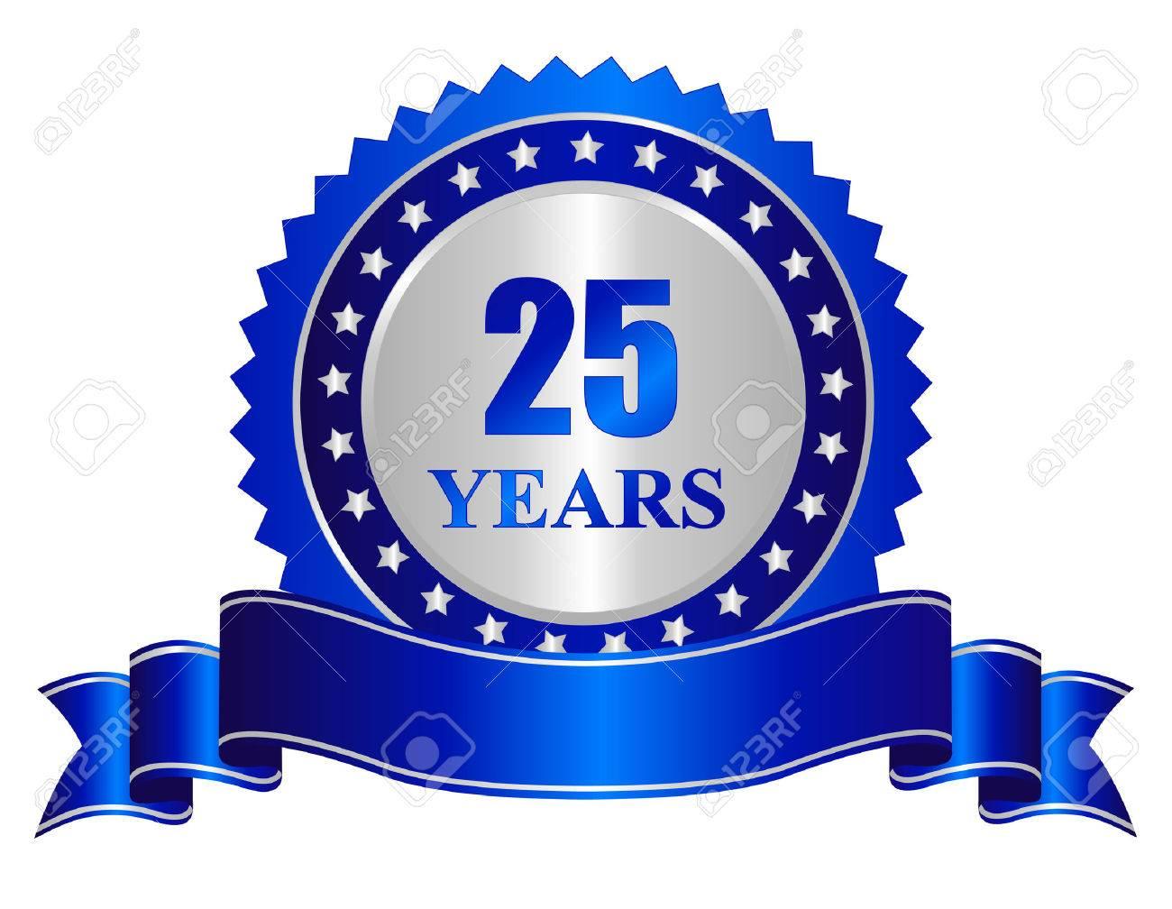 Comptons en couleur 38528943-25-années-de-couleur-anniversaire-de-silver-seal-timbre-avec-ruban-bleu-bannière