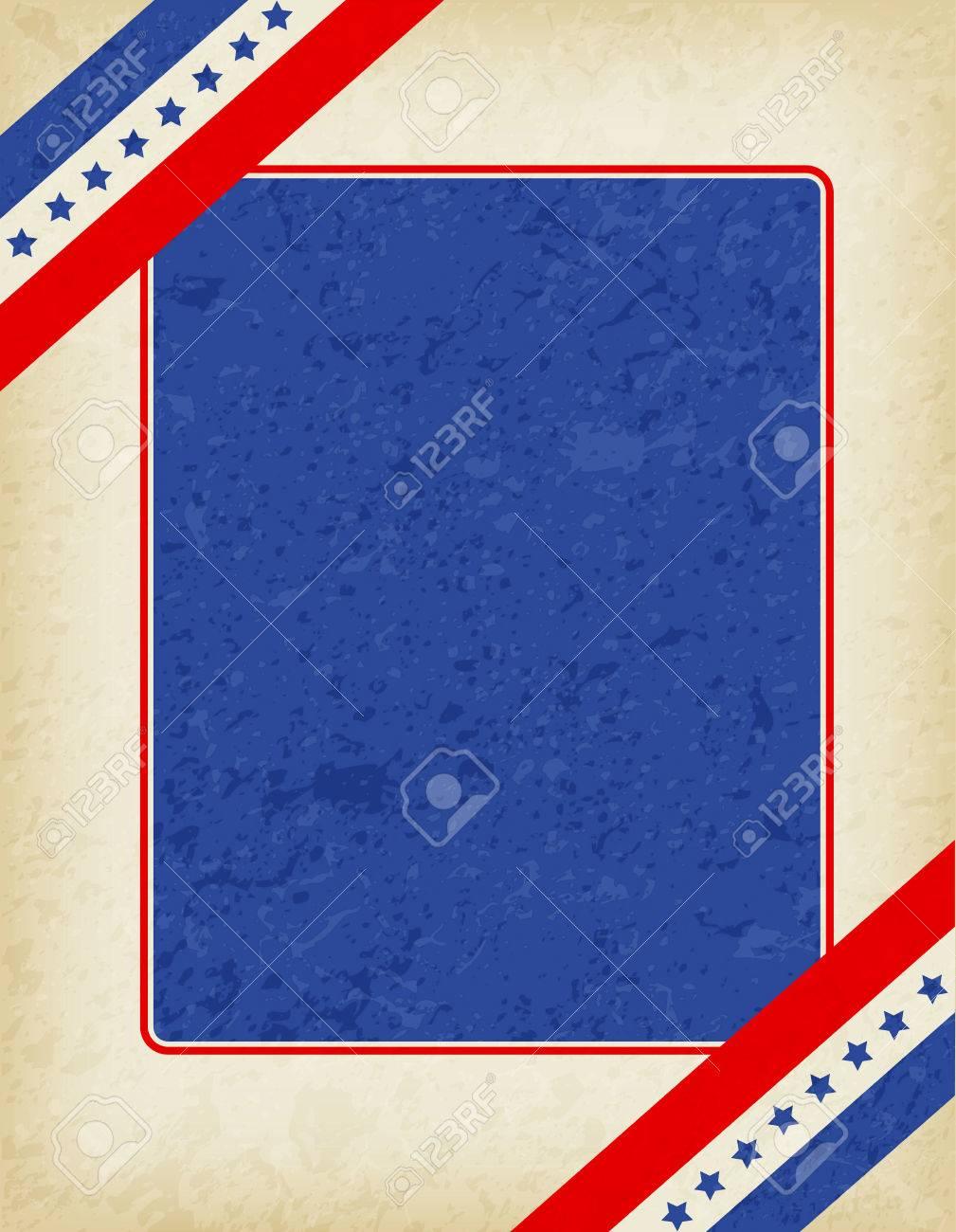 EE.UU. Grunge Marco Patriótico Americano Con Bandera De La Cinta En ...