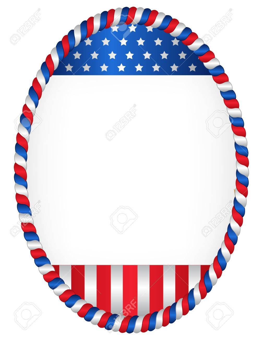 Rote Und Blaue Ovale Amerikanische Flagge Rand / Rahmen Isoliert Auf ...