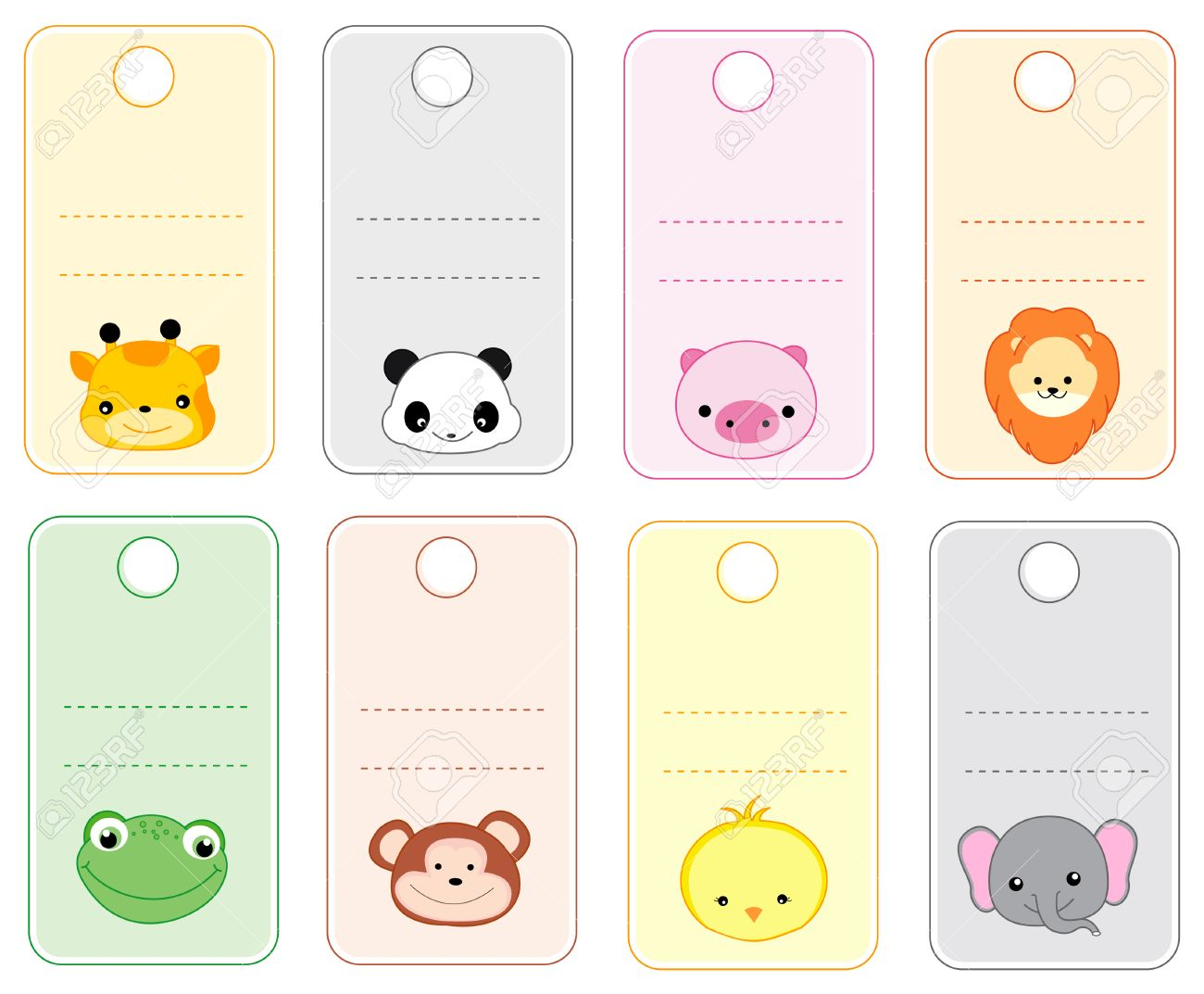 colorful printable gift tags name tags with cute animal faces isolated on white stock vector