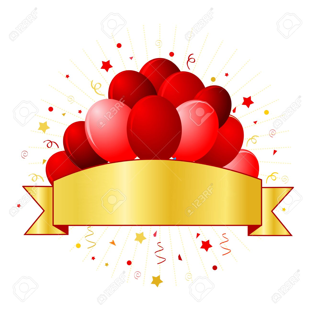 Anniversary Card With Beautiful Red Balloons And Confetti On ...