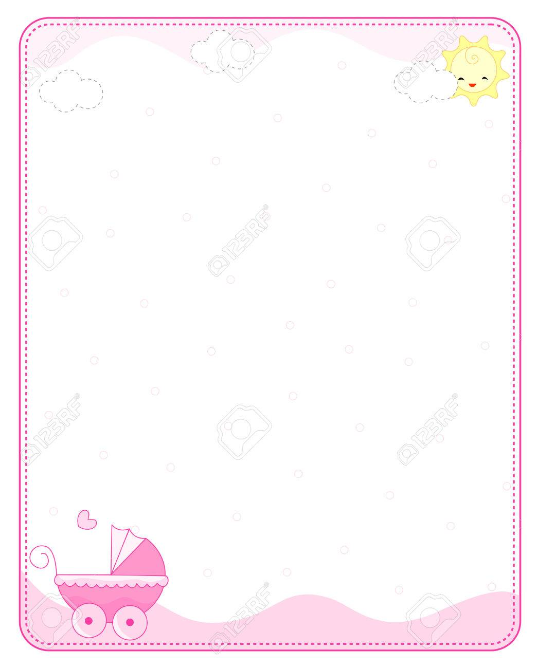 Pink Baby Girl Arrival Announcement / Party Invitation Card ...