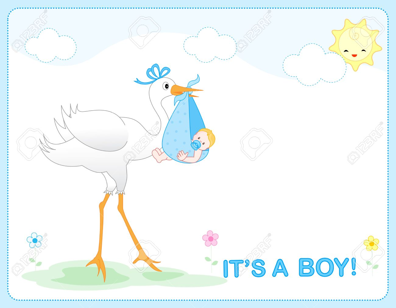 It\'s A Boy Baby Boy Arrival Announcement Card / Frame Royalty Free ...