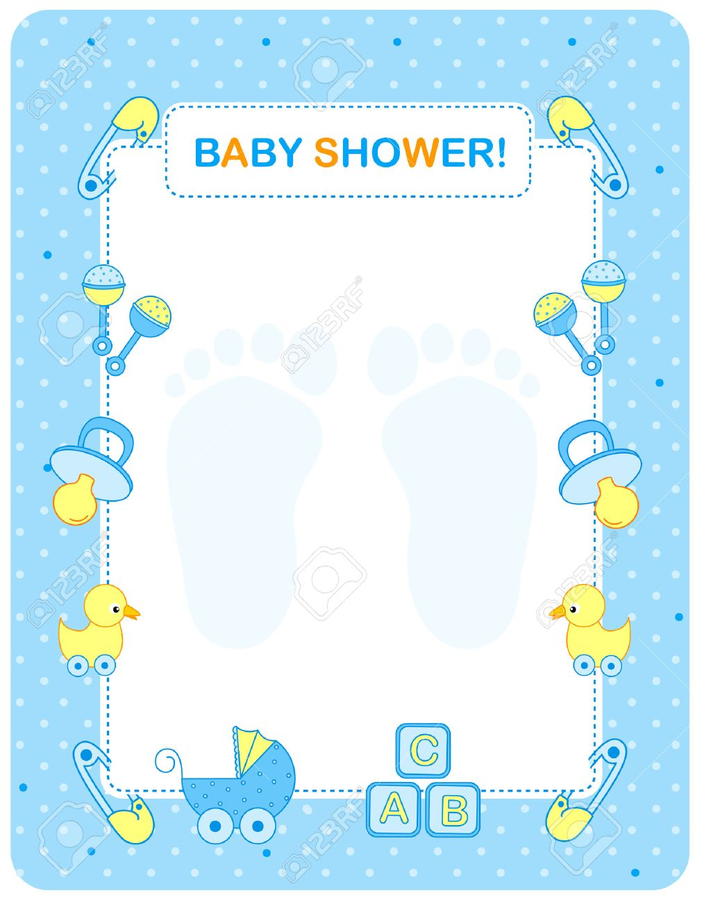 of a baby shower invitation card border frame for a boy stock vector