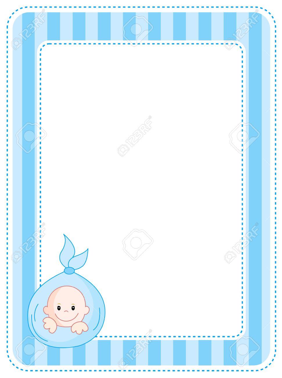 cute blue baby boy arrival party invitation announcement
