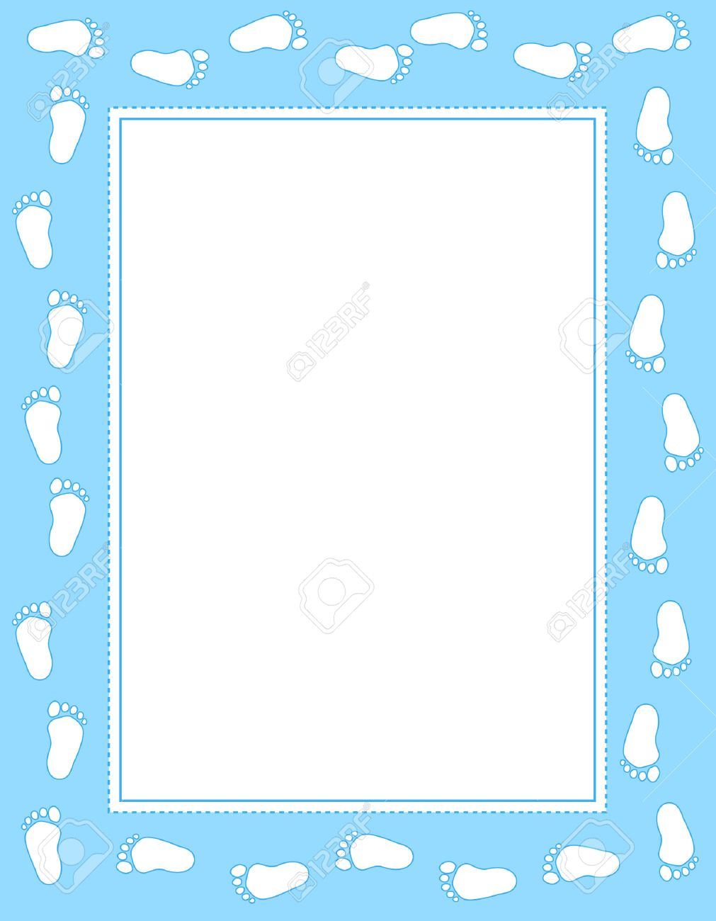 Baby Boy Footprints Border / Frame With Empty White Space To ...
