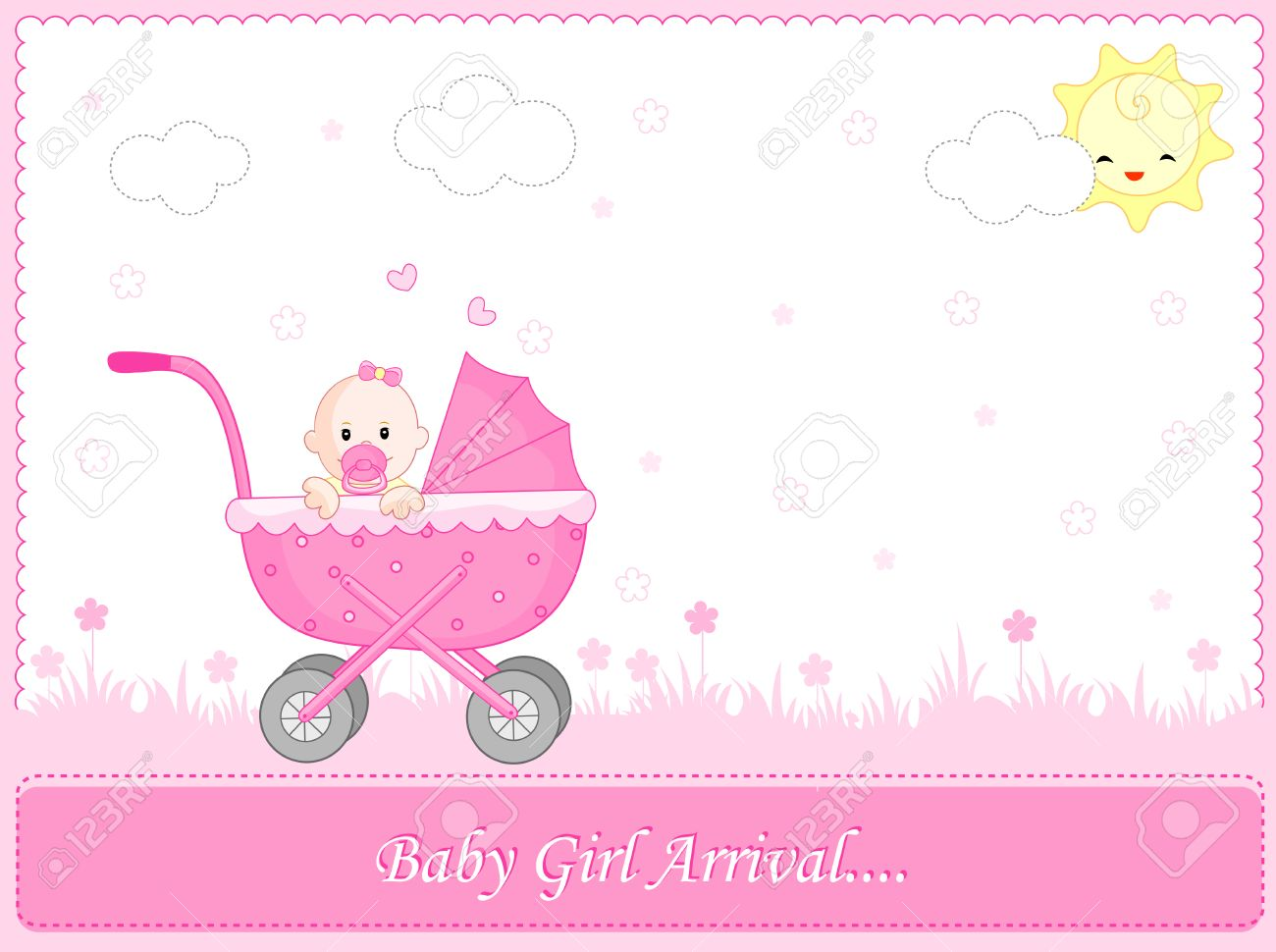 cute pink baby girl arrival card background frame with a go