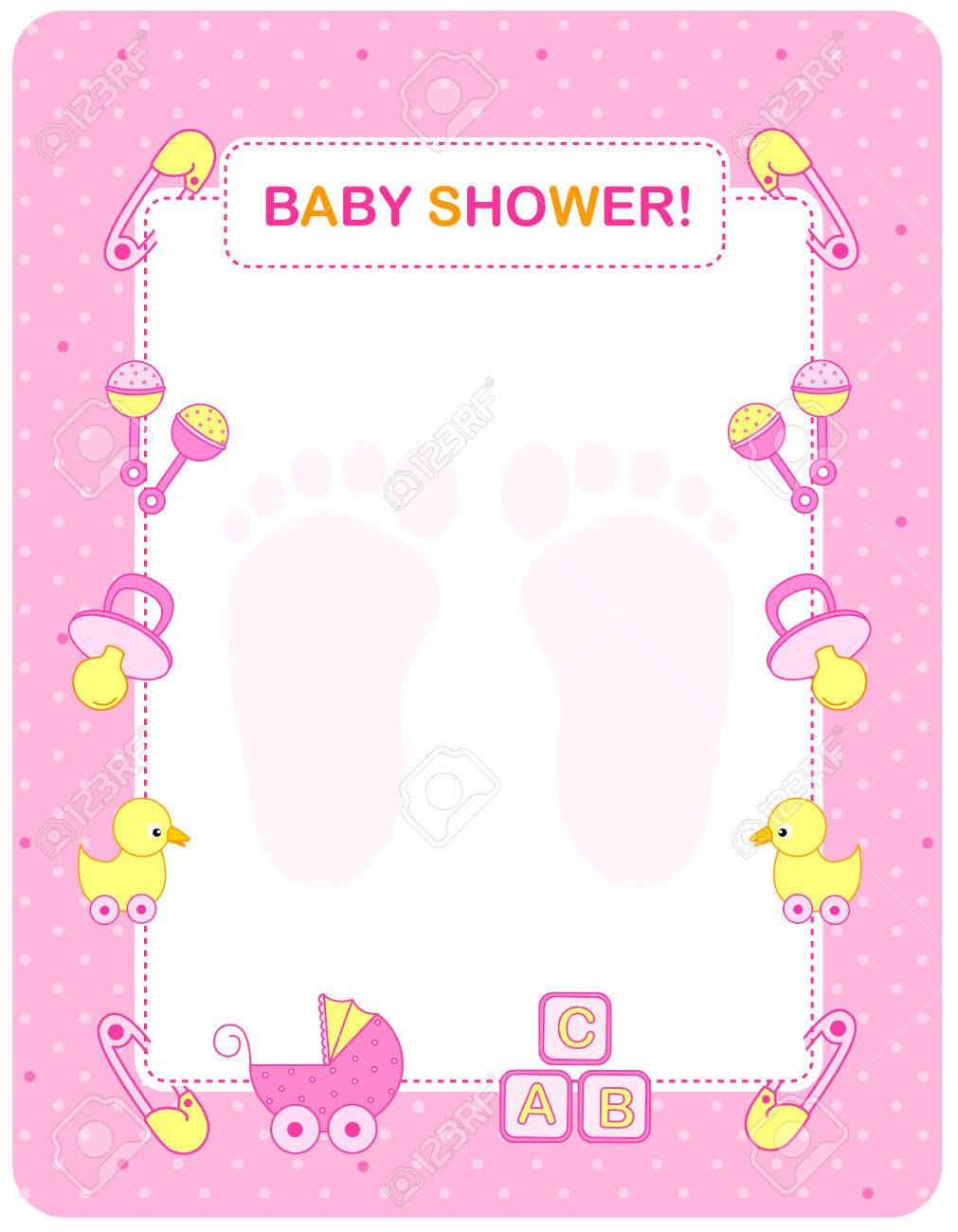 Illustration of a baby shower invitation card border frame for a banco de imagens illustration of a baby shower invitation card border frame for a girl stopboris Images