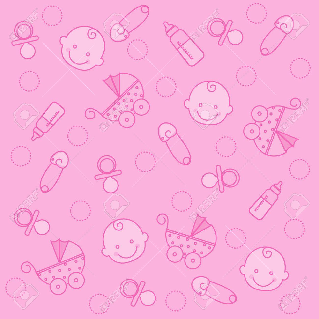 standard bild ser rosafarbenes babymdchen elemente nahtlose muster tapeten - Muster Tapeten
