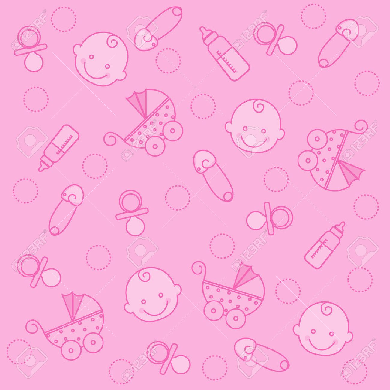 sweet pink baby girl elements seamless pattern / wallpaper royalty