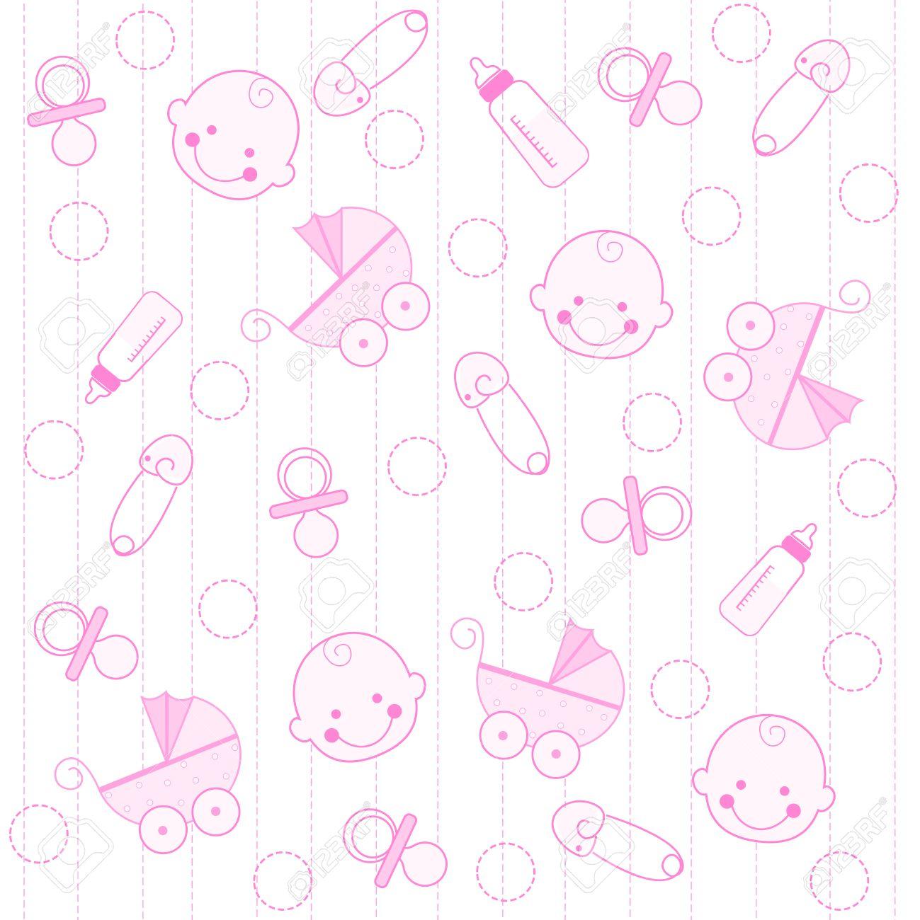 sweet pink baby girl elements seamless pattern / wallpaper royalty