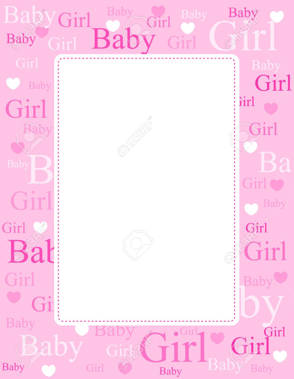 Cute Pink Frame / Border With Baby Girl Text And Hearts Royalty Free ...
