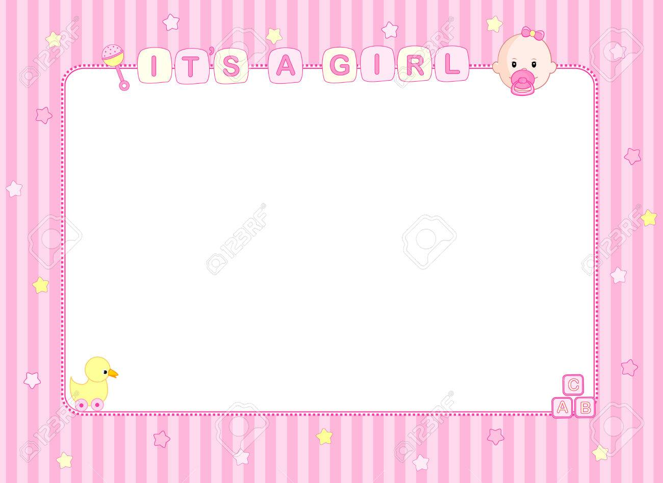 Pink It\'s A Girl Baby Arrival Announcement Card / Party Frame ...