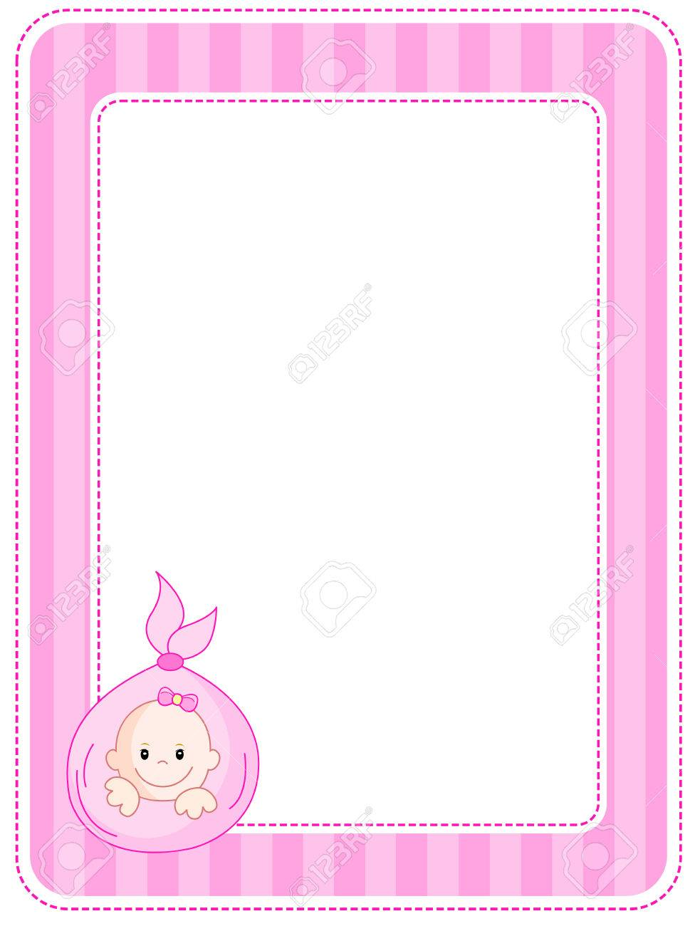 cute pink baby girl arrival party invitation announcement