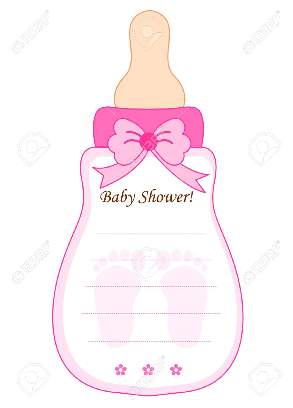 cute feeding bottle shaped baby shower invitation card template