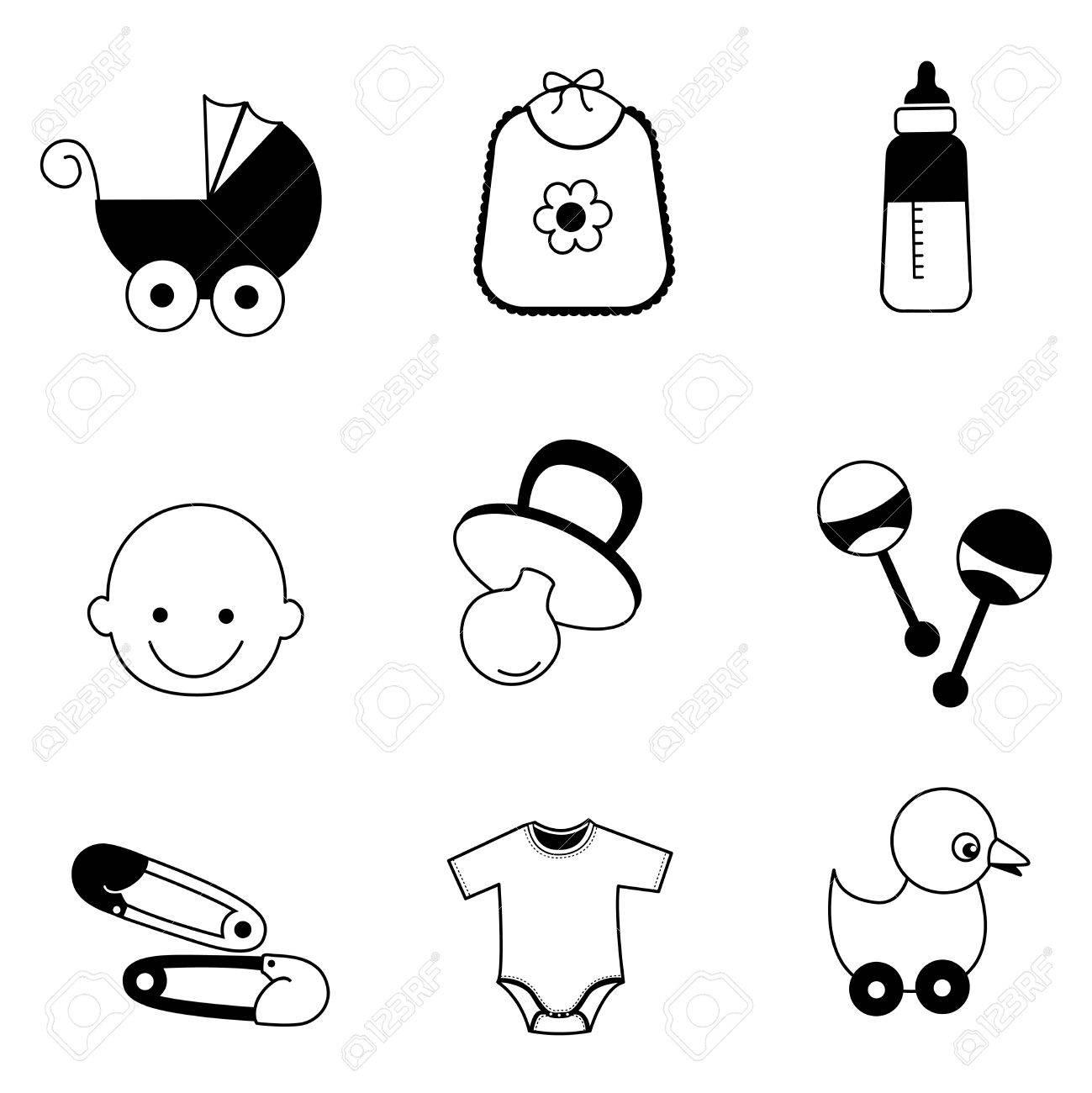 Schwarz Weiß Baby Zubehör Web Icon Sammlung Isoliert Auf Weiss