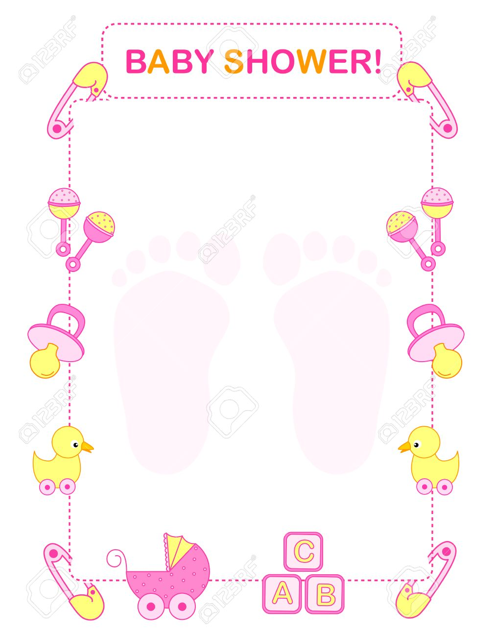 illustration of a baby shower invitation card border frame for a girl stock vector