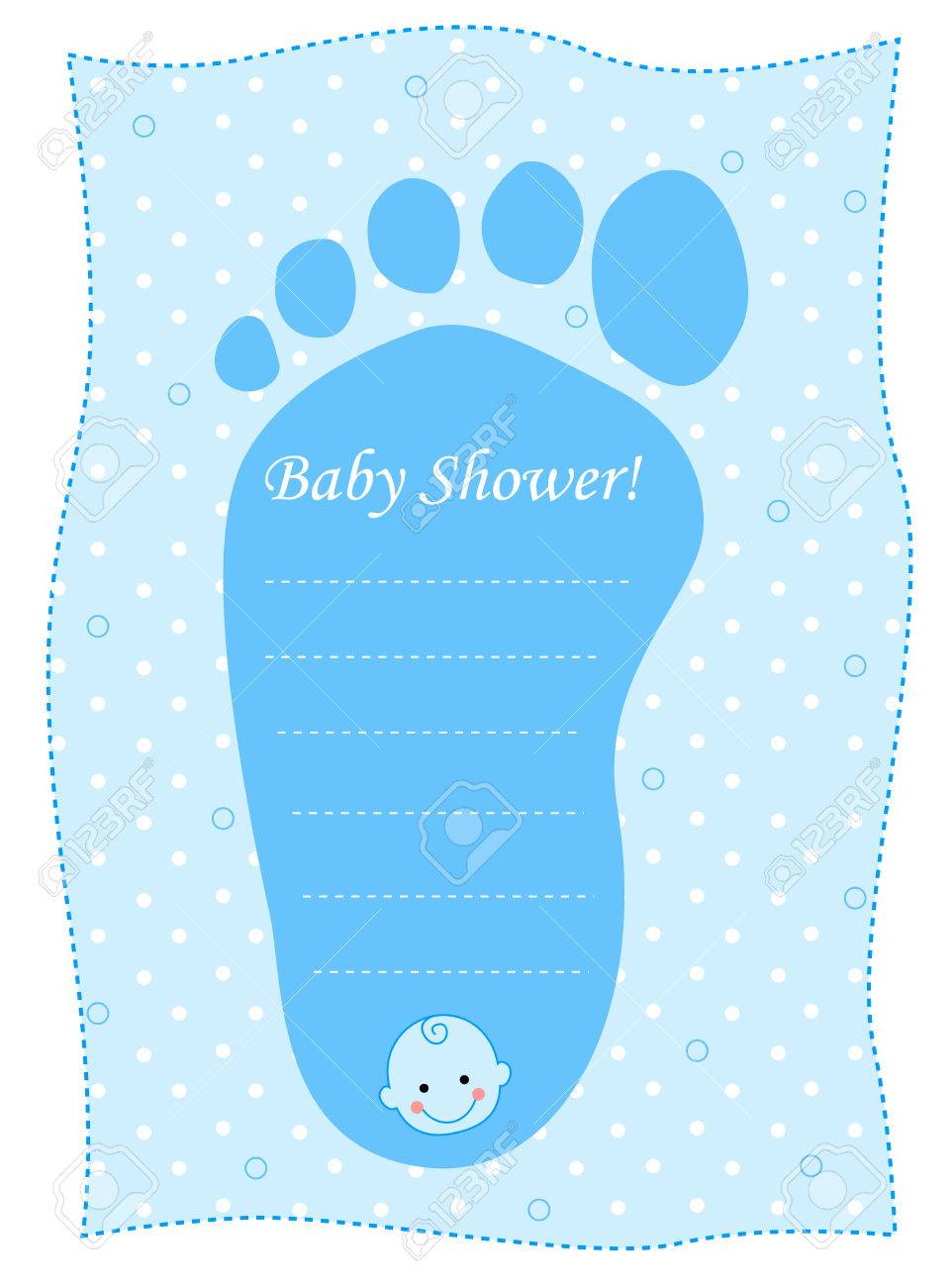Illustration of a blue baby shower invitation with a footprint illustration of a blue baby shower invitation with a footprint on a white background stock filmwisefo