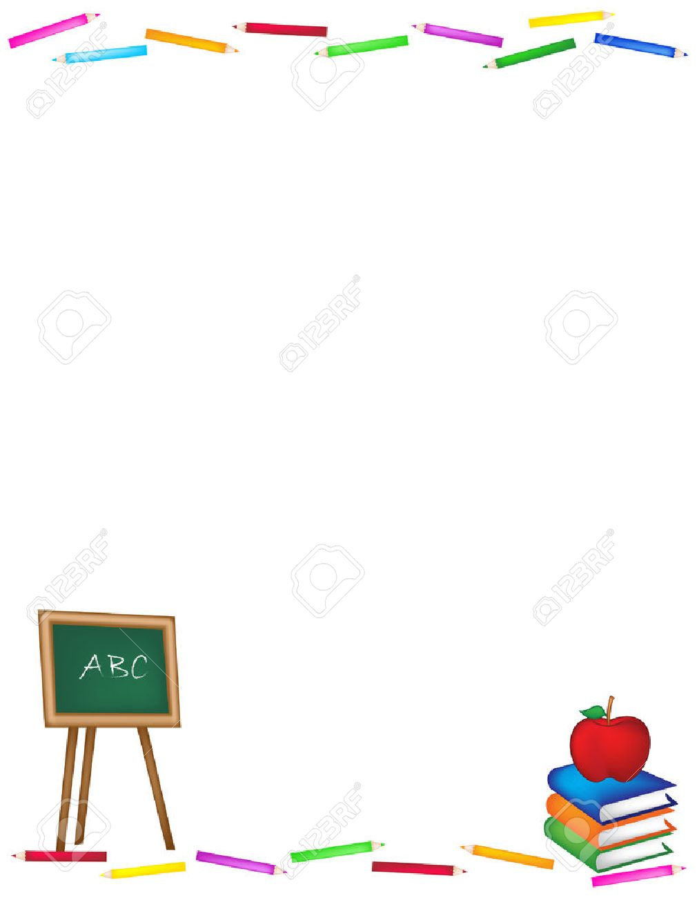 Back To School Frame / Web Site Background With Black Board And ...