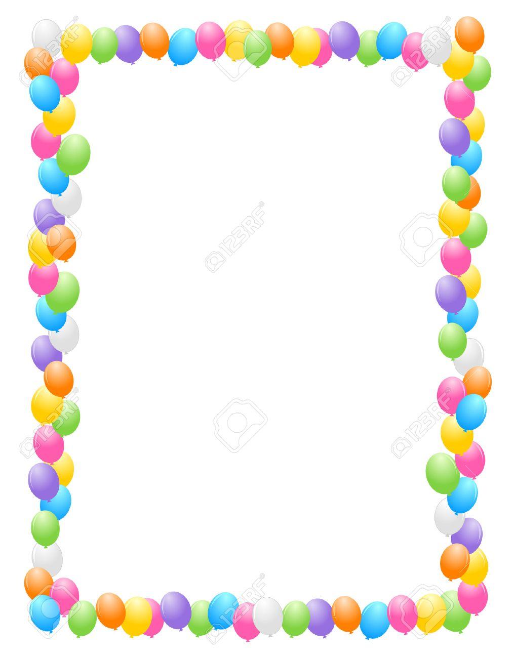 Bunte Luftballons Grenze / Rahmen Illustration Für