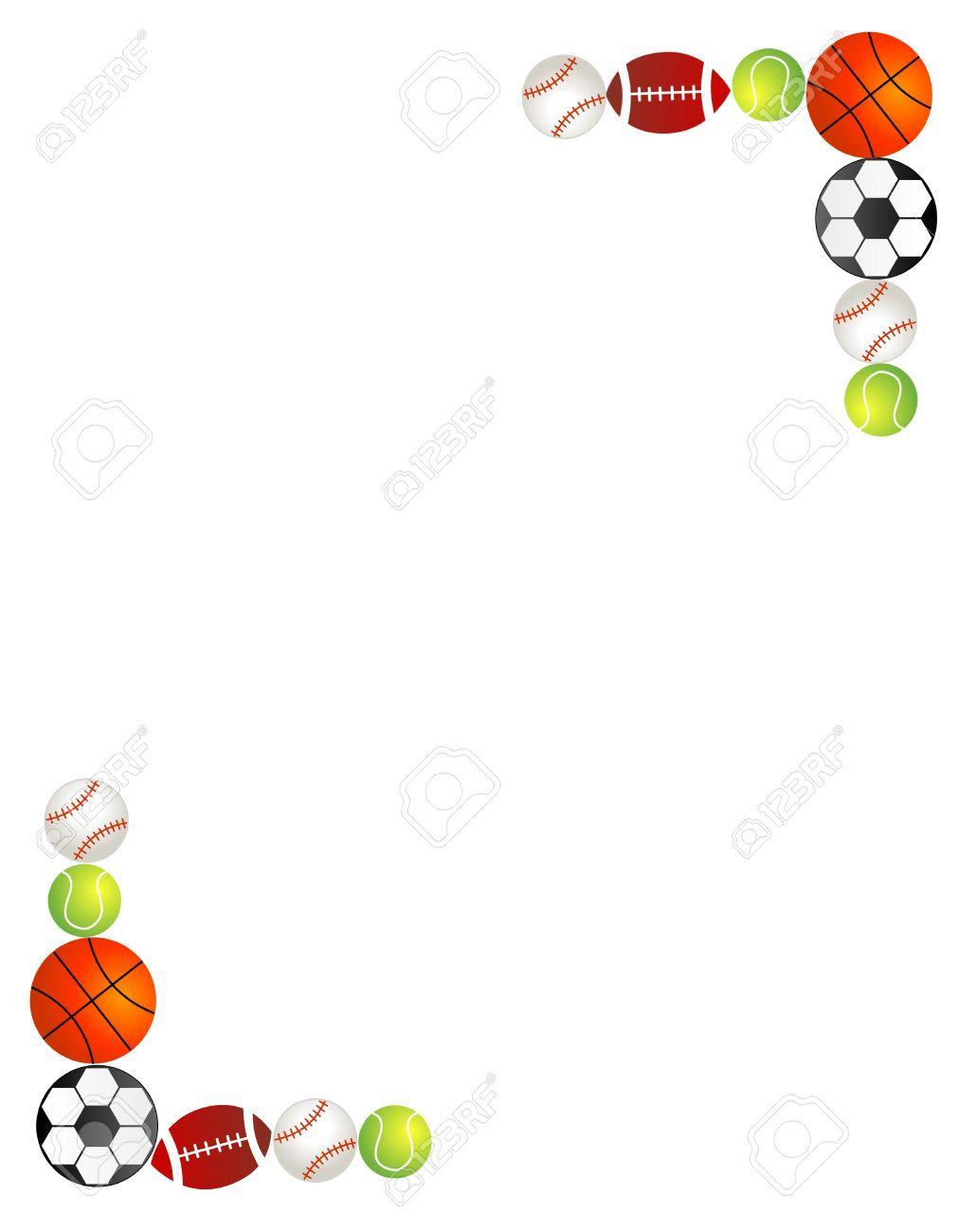 2adade99dc7 Five different sport balls border   frame on white background. Stock Vector  - 38547554