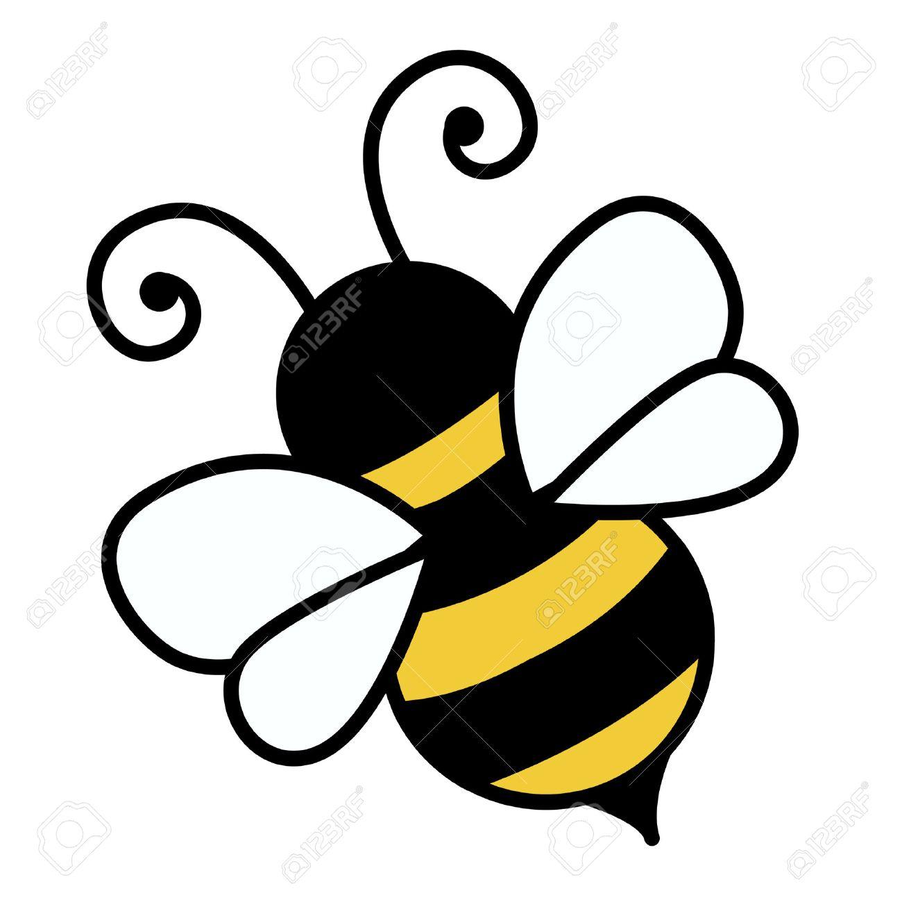 白い背景イラストを分離したかわいい蜂のイラスト素材 ベクタ Image