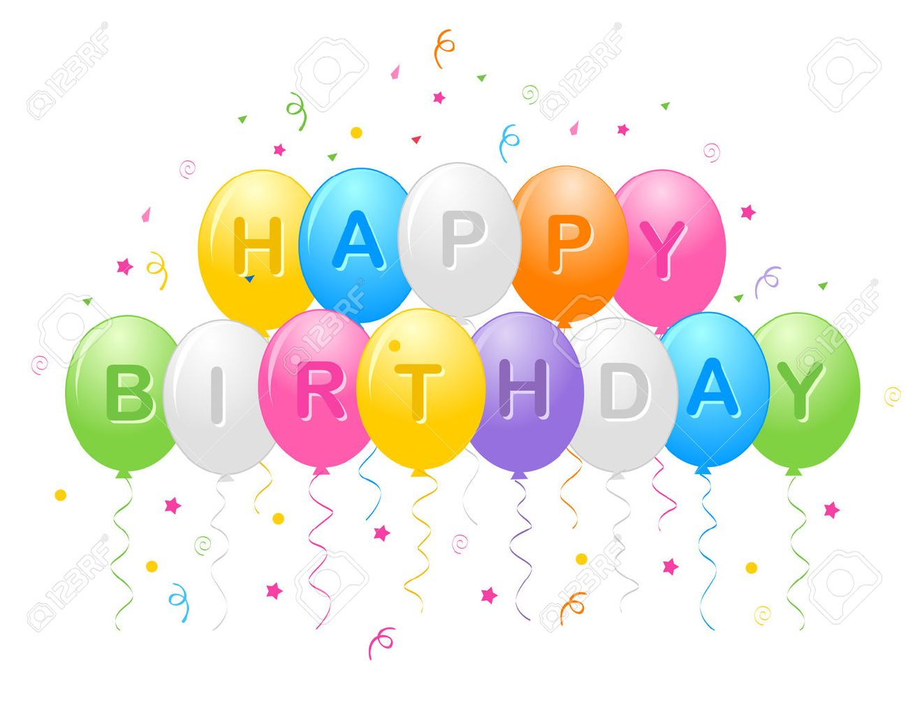 Birthday Greeting Card With Colorful Balloons And Confetti Happy Text Stock Vector