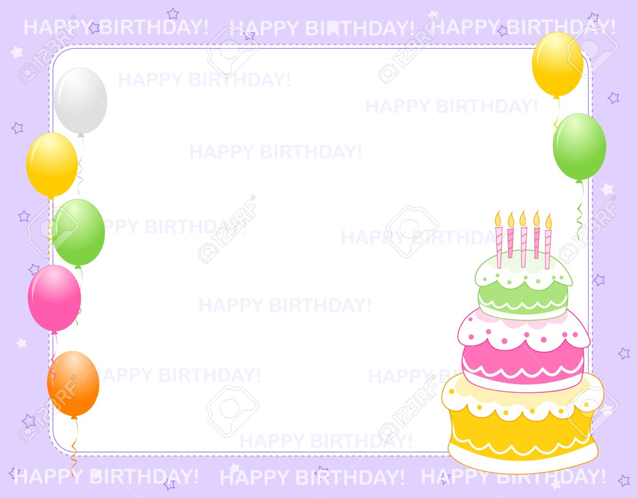 Colorful Birthday Card Invitation Background With Happy Text And Balloons A Birth Day